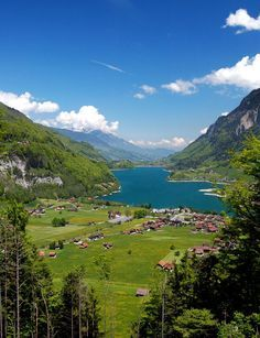 Summer view of Lungern, a beautiful and peaceful city in Obwald canton.