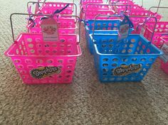 Shopkins party favor baskets. Will add candy from pinata and Shopkins bracelets from prize punch box.