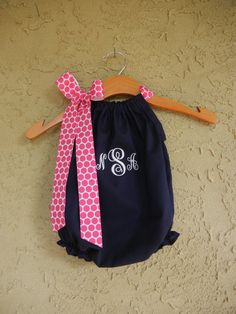 Monogrammed Navy Pillowcase Bubble Romper - sizes 3m - 24m....PERFECT for SUMMER and the BEACH