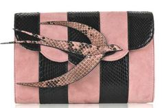 Miu Miu Pink and Black Bird Suede and Python Clutch Miu Miu Clutch, Miu Miu Shoes, Handbag Accessories, Fashion Accessories, Little Bag, Discount Designer Clothes, Clothes For Sale, Valentino, Shoulder Bag