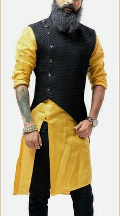 Yellow and Black Asymmetrical Style Kurta with Jacket is part of Indian men fashion - Original Product Yellow and Black Asymmetrical Jacket with Kurta is Asymmetrical Style Churidar Kurta with Jacket with Plain Mens Indian Wear, Mens Ethnic Wear, Indian Groom Wear, Indian Men Fashion, Mens Fashion Suits, India Fashion Men, Indian Man, Tokyo Fashion, Man Fashion