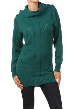 65 percent Acrylic 35 percent Polyester 1S/2M/2L/1XL Per Pack Teal Green, Coral, Black, Taupe, Red, Purple This HIGH QUALITY sweater is VERY CUTE!! Super warm and comfy, this nicely designed cutout knit sweater with a cowl neckline and a contrast solid back is hand washable, and fits true to size.