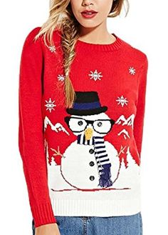 Lady ViVi Women's Winter Christmas Cute Santa Jumper Knit Red Ugly Sweater