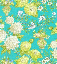 Home Decor Print Fabric-  Williamsburg Lightfoot Garden Lagoon