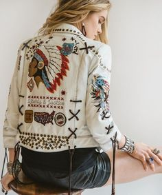 $1318 Double D Ranch Wear Embellished Embroidered White Denim Women's Jacket Summer Spring Trends