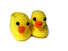 Yellow Ducky Slippers Crocheted Baby Booties by TheCrochetLady