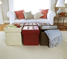 LOVE, LOVE these ottomans, have several sets! They fold down when not in use & have great storage inside. So pretty & functional!