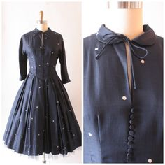 1950's navy blue silk shantung party dress with by SchoolofVintage, $49.00
