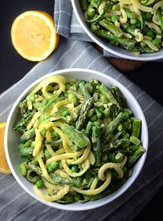 Creamy Roasted Asparagus and Zoodle Pasta Salad - Vegan & Gluten-Free, Low Fat, Low Carb