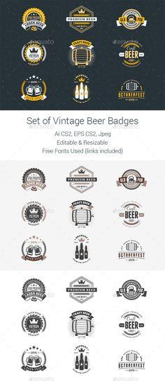 Set of Vintage Beer Badges - Badges & Stickers Web Elements Camp Logo, Premium Beer, Lager Beer, Badge Logo, Logo Design, Graphic Design, Fantasy Character Design, Logo Templates, Design Inspiration