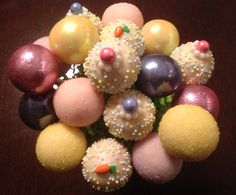 Easter Easter Arrangements are HERE! $36.00 gets you 12 Cake Pops in 3 Flavors Coconut Cream Pie, Pink Lemonade Cake and Rich Chocolate Cake. Last day to order is Wednesday the 16th of April. Get your order in early before they all hop away!  For orders please call me at 305-409-7146. http://www.Facebook.com/CakePopsByLilly.com