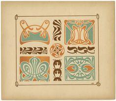 Art nouveau pattern design from the book, Combinaisons ornamentales se multipliant à l'infini à l'aide du miroir by  M.M.P Verneuil, G. Auriol, &  Alphonse Mucha.