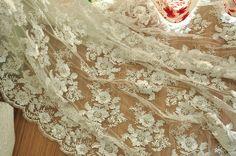 Heavily Beaded Lace Fabric , Beaded Flower Alencon Lace Fabric in Ivory , French Lace Fabric