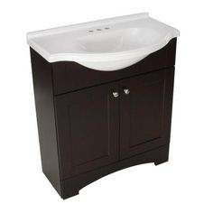 Since I don't have access to Cville - I think this is the right vanity for the apartment bathroom.    Del Mar 30 in. W Vanity with AB Engineered Composite Top in Espresso