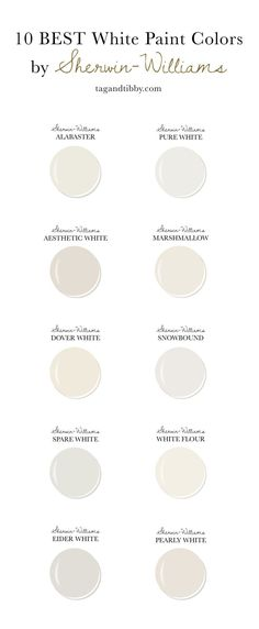10 Best White Paint Colors by Sherwin-Williams — Tag & Tibby Design - 10 Best White Paint Colors by Sherwin-Williams — Tag & Tibby Design Estás en el lugar correcto pa - Off White Paint Colors, Cream Paint Colors, White Wall Paint, Off White Paints, Best White Paint, Best Paint Colors, Wall Paint Colors, Exterior Paint Colors, Paint Colors For Home
