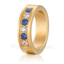 Anel de Casamento titânio superfície de cetim cor de ouro colorido pedra titânio promessa banda de casamento anéis (China (continente))