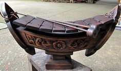 "Wood Carving 14"" Xylophone Thai Ethnic Traditional Music Gamelan Instrument 