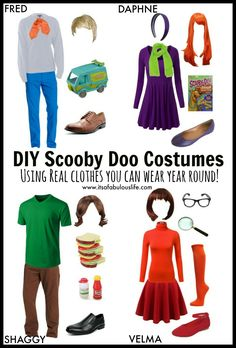 Group Halloween Costume Ideas: DIY Scooby Doo Gang costumes using real clothes you can wear again! Plus how to style them for the rest of the year! Scooby Doo Halloween Costumes, Family Halloween Costumes, Halloween Cosplay, Halloween Outfits, Group Costumes, Diy Costumes, Halloween Diy, Costume Ideas, Velma Costume
