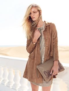 TWIN-SET Simona Barbieri: Long suede trench coat, lace dress, bracelet and clutch bag with stones embroidered