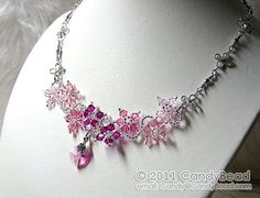 Swarovski Necklace Sweet Pink Flower Dancing by candybead on Etsy, $19.50