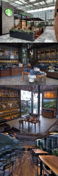 Mexico's first Starbucks Reserve Store features a carefully curated line of small-lot arabica coffees from Nicaragua, Papua New Guinea, and the Galapagos. Designers intentionally kept the indoor space open, with limited bar seating, to allow ample room to walk around and explore while they wait for their orders. Outside, an open-air terrace serves as an ideal place to sit, relax and enjoy a freshly brewed cup of coffee.: