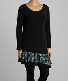 Look at this #zulilyfind! Black & Jade Paisley Ruffle-Trim Asymmetrical-Hem Tunic - Plus #zulilyfinds