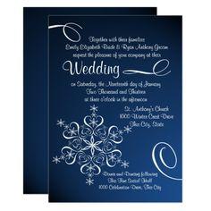Snowflake Blue Elegance Winter Wedding Card