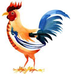 Margaret Berg : birds / animals: Cock-a-doodle-doo Watercolor Bird, Watercolor Animals, Watercolor Illustration, Watercolor Paintings, Watercolors, Art Pictures, Art Images, Chicken Illustration, Rooster Art