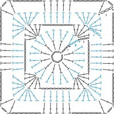 Square Pattern : Granny Square Pattern – Sandra_GirlyCrochet Granny Square Pattern : Granny Square Pattern – Sandra_GirlyCrochet かぎ編み Crochet Japan : 四角モチーフ 8 【かぎ針編み】How t. Crochet Blocks, Granny Square Crochet Pattern, Crochet Stitches Patterns, Crochet Chart, Crochet Squares, Crochet Granny, Crochet Motif, Crochet Doilies, Knitting Patterns