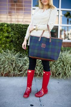 Stripes and Black Watch Plaid with Hunter Boots