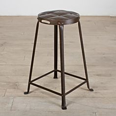 @Overstock - Old Iron Lacquer Metal Tufted Top 26-inch Counter Stool - This counter stool is made from iron and steel, with a hand tufted pattern hammered into the stool top. This stool will make a bold, unique accent for any decor.  http://www.overstock.com/Worldstock-Fair-Trade/Old-Iron-Lacquer-Metal-Tufted-Top-26-inch-Counter-Stool/6818324/product.html?CID=214117 $92.99