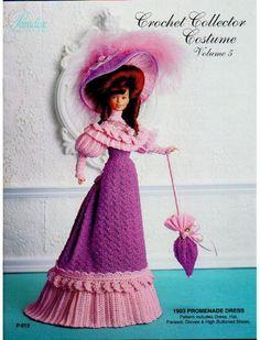 vestido de época, luvas, chapéu, sombrinha e botas  Receita de Crochê para bonecas Barbie