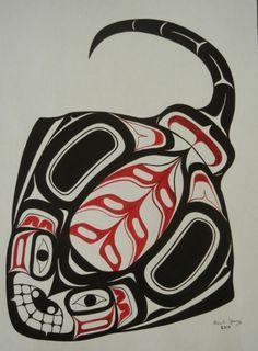 This haida art includes both organic curves and geometric corners which shows that the object has poison in the plain and pretty body. Native American Symbols, Native American Design, Native Design, American Indian Art, Haida Kunst, Arte Haida, Haida Art, Arte Tribal, Tribal Art