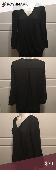 Size M Lulu E Bebe Elegant Black Blouse New with tags.  Versatile elegant blouse. Lulu e Bebe Tops Blouses