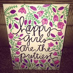 """Happy girls are the prettiest"" -Audrey Hepburn #canvas #art #diy / source: brookeposeyy Instagram"