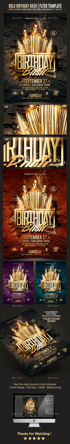 Gold Birthday Bash | Psd Flyer Template — Photoshop PSD #romecreation #poster • Available here → https://graphicriver.net/item/gold-birthday-bash-psd-flyer-template/13542428?ref=pxcr