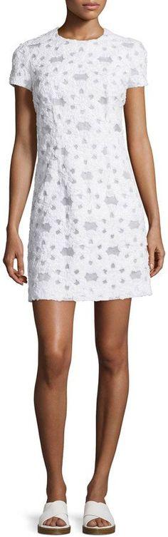 Michael Kors Short-Sleeve Floral-Applique Dress, Optic White