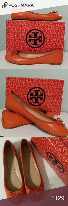 Tory Burch Chelsea ballet flats  size 10 Beautiful equestrian orange rounded toe ballet flats with gold Tory emblem.  Leather sole and interior. Gorgeous fall color, these would make a fantastic Christmas gift! The box is included but it is from a different style shoe. Tory Burch Shoes Flats & Loafers