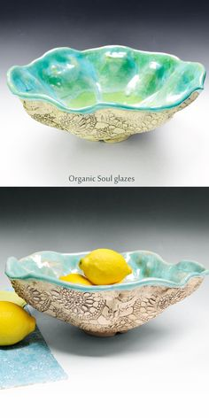 Lee Wolfe Pottery — hand built ceramic bowl lace texture
