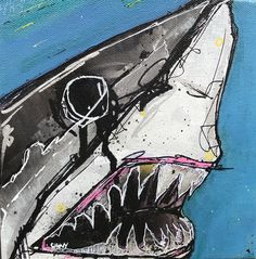 May have scene another great white shark art print but Big Chomps takes a bite out of the competition. Original Art by Chovy! Koy Fish Drawing, Shark In The Ocean, Painted Skateboard, Shark Illustration, Shark Painting, Shark Craft, Simpsons Drawings, Shark Pictures, Shark Tattoos