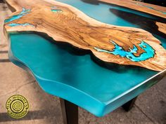 Live edge fresin river dining table with led lighting and image 4 Turquoise Color, Light Turquoise, Coffee Table To Dining Table, A Table, Tabletop, Origami, Art And Craft, Powder Paint, Selling Handmade Items