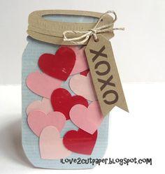 i love 2 cut paper: Mason Jar shaped card. Use dies for easy can-do Mason Jar Cards, Mason Jars, Door Decs, Shaped Cards, Scrapbook Cards, Scrapbooking, Jar Crafts, Be My Valentine, Diy Cards