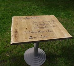 cafe table done in Fusion Mineral Paint Algonquin and Fusion Transfer Gel for the words http://emilyrosevintage.co.uk/products/fusion-mineral-paint-transfer-gel  http://emilyrosevintage.co.uk/products/fusion-mineral-paint-algonquin-500ml-1pt