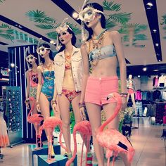 Splash around in style this summer with our smoking hot swimwear and statement jewels! Splash around in style this summer with our smoking hot swimwear and statement jewels! Visual Merchandising, Store Window Displays, Display Windows, Fashion Displays, Visual Display, Store Design, Summer Swimwear, Beach Holiday, Models