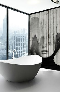I love this wall which bridges the gap for me in my bathroom between Art Deco and the contemporary edge I desire; Decoration Inspiration, Bathroom Inspiration, Interior Inspiration, Style Inspiration, Interior Architecture, Interior And Exterior, Wall Design, House Design, Beautiful Bathrooms