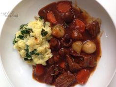 A Girl & Her Food: Beef & Stout Stew + Kale Mashed Potatoes http://www.agirlandherfood.com/2014/01/beef-stout-stew-kale-mashed-potatoes.html