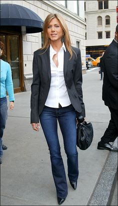 denim blazer look jennifer aniston
