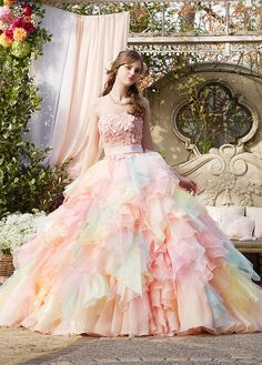 Pastel Wedding Ball Gowns with Floral Patterns: Stella de Libero, Yumi Katsura, Nicole Poofy Prom Dresses, Best Prom Dresses, Tulle Prom Dress, Quinceanera Dresses, Pretty Dresses, Bridal Dresses, Wedding Gowns, Fantasy Gowns, Embellished Dress