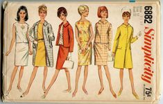 1960s Vintage Sewing Pattern Simplicity 6882 Misses' Coat, Jacket, Overblouse and Skirt Bust 32 UNCUT