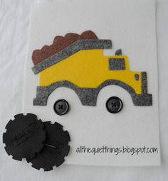dump truck with button wheel. Great Idea. Maybe could have it hauling different pairs of tires. Like Disney garage game.